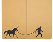 Sasquatch & Unicorn - Screen-printed Moleskine Cahier Notebooks