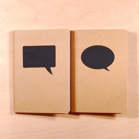 Speech Bubbles (Black) - Screen-printed Kraft Pocket Books