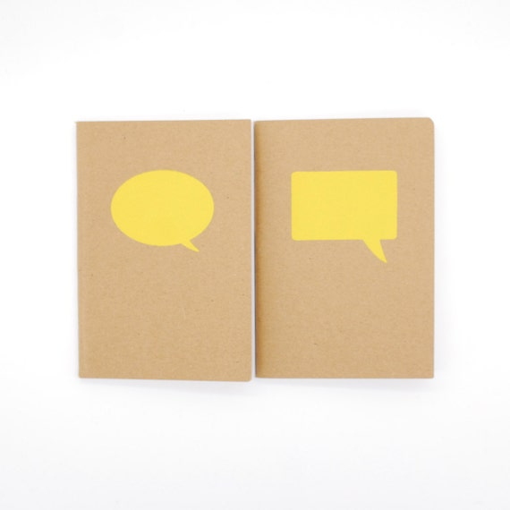 Speech Bubbles (Yellow) - Screen-printed Kraft Pocket Books