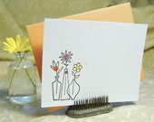 3 Vases Letterpress Flat Notes