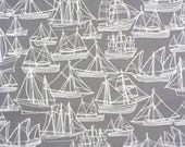 Boat Fabric Gray  - Hand Drawn Original Fabric Design