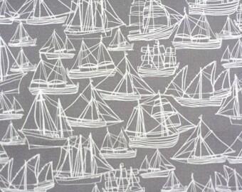 Boat Fabric Gray  - Hand Drawn Original Fabric Design