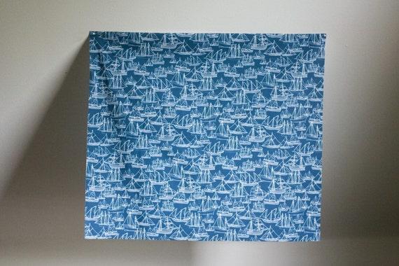Boat Fabric Blue  - Hand Drawn Original Fabric Design