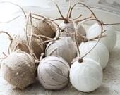 Set of 9 Rag Ball Trio. Handmade Christmas ornaments in linen and burlap.
