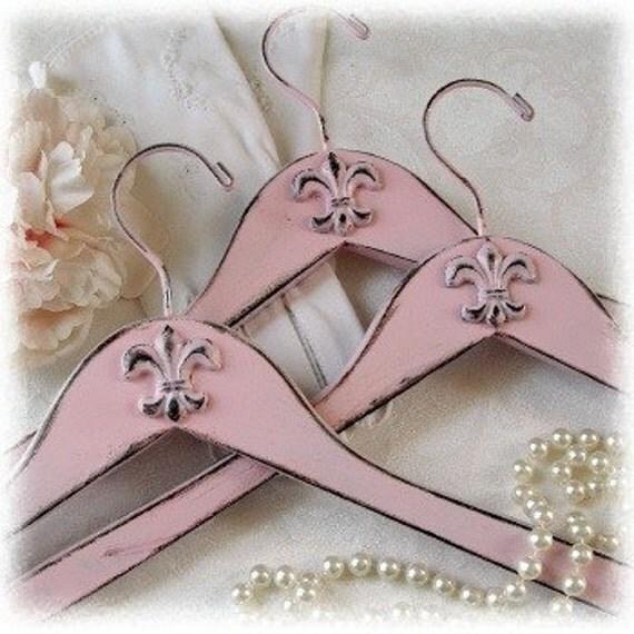 Set of 3 Shabby Pink Fleur de Lis Coat Hangers