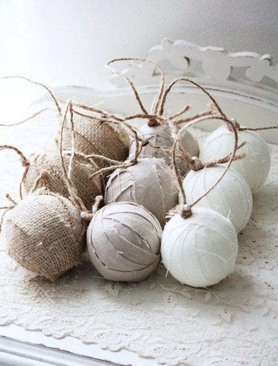 Set of 9 Rag Ball Trio. Handmade Christmas ornaments in linen and burlap.