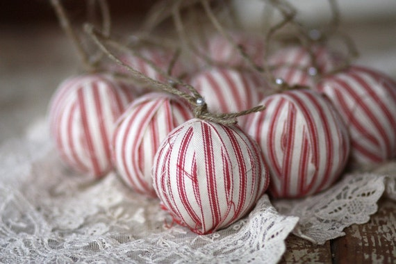 Red ticking rag ball Christmas tree ornaments, Set of 9, Limited Quantities Available