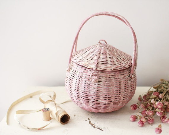 Vintage distressed pink sewing basket - cottage chic storage container