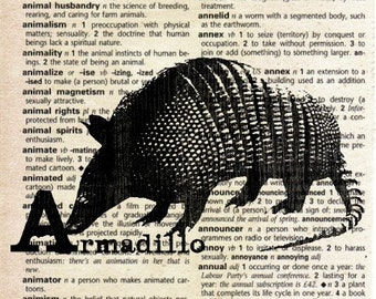Animal Print on Vintage Dictionary Page - Armadillo