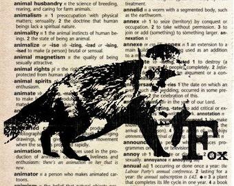 Animal Print on Vintage Dictionary Page - Fox