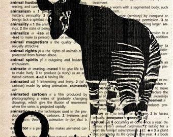Okapi - Print on Vintage Dictionary Page