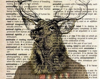 Antique Print on Vintage Dictionary Page - Stag