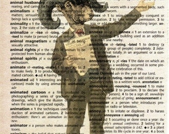 Antique Print on Vintage Dictionary Page - Ram