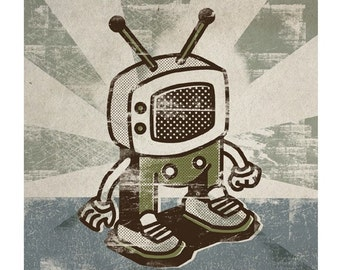 TV Boy Retro Art Print