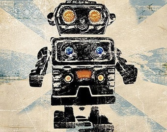 6x6 Vintage Robot Retro Pop Art Print