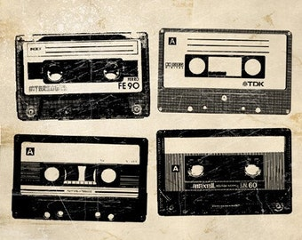 6x6 Retro Cassette Tapes Print