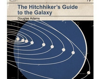 6x6 Hitchhiker's Guide to the Galaxy - Classic Vintage Book Cover Print