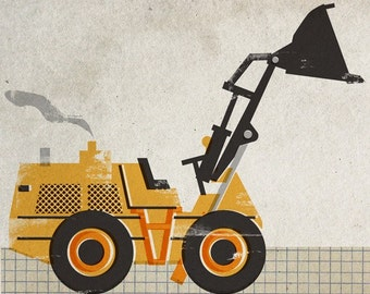 6x6 Construction Machine Print - Wheel Loader