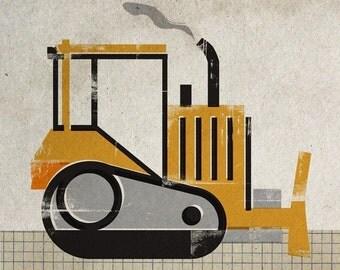 6x6 Construction Machine Print - Bulldozer