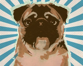 6x6 Pug No.2 - Retro Pop Art Dog Print