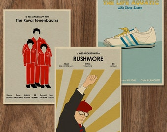 16x12 Wes Anderson set of 3 Movie Posters