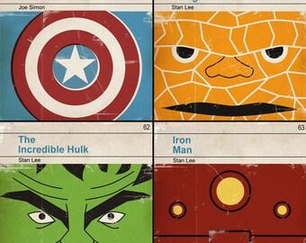 Set of 4 prints - Classic Vintage Marvel Penguin Book Cover Prints