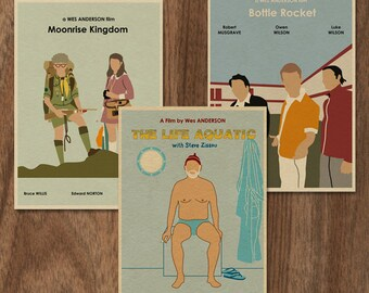Wes Anderson set of 3 limited edition prints -set 2