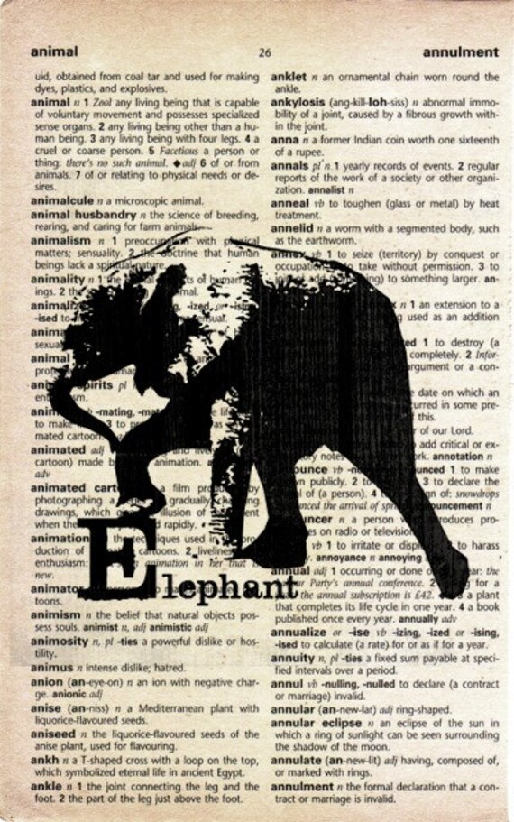 Animal Print on Vintage Dictionary Page - Elephant