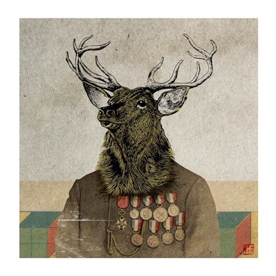 6x6 Whimsical Animal Print - Stag