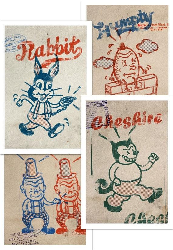 Set of 4 Alice in Wonderland Vintage Prints