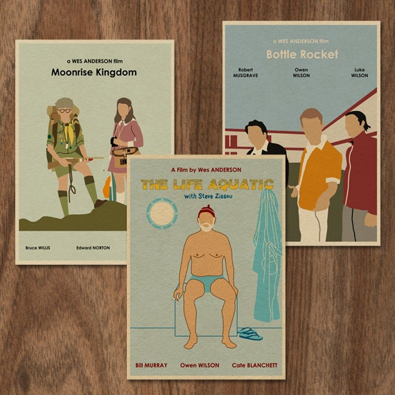 3 Wes Anderson 16x12 Movie Posters - Set 2