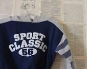 Vintage Kids Hoodies - Retro Sports Classic Sweatshirt - Boys Toddler Shirt Football - Grey Navy White Stripe - Size 12 - 24 mo - Clothes