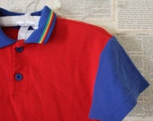 SALE Vintage Kids Shirt Retro Polo Collared Short Sleeved Red Blue Yellow Boys Toddler Top Clothes Clothing Rainbow