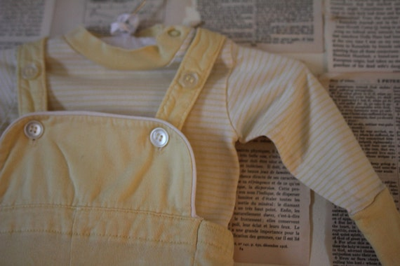 Vintage Baby Overalls and Shirt - Retro Jumper Romper - Two Piece Set Yellow and White Outfit - Baby Boy Girl Clothes Clothing Pants Suit