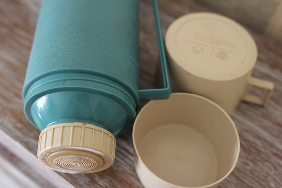 Vintage Blue Thermos Retro Grey and Light Blue Powder Blue Hot and Cold Thermos Staging Props Home Decor Camping Hiking Equip