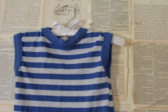 Vintage Boys Tank Top - Retro Blue and White Striped Ringer - Boys Clothing - Sleeveless Shirt - Spring Summer Clothes