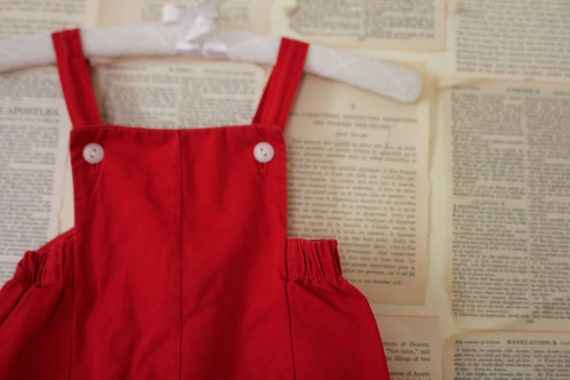 Vintage Baby Overalls - Retro Red Coveralls Romper - Baby Boy Clothes - Baby Girl Clothing - Pants Suit