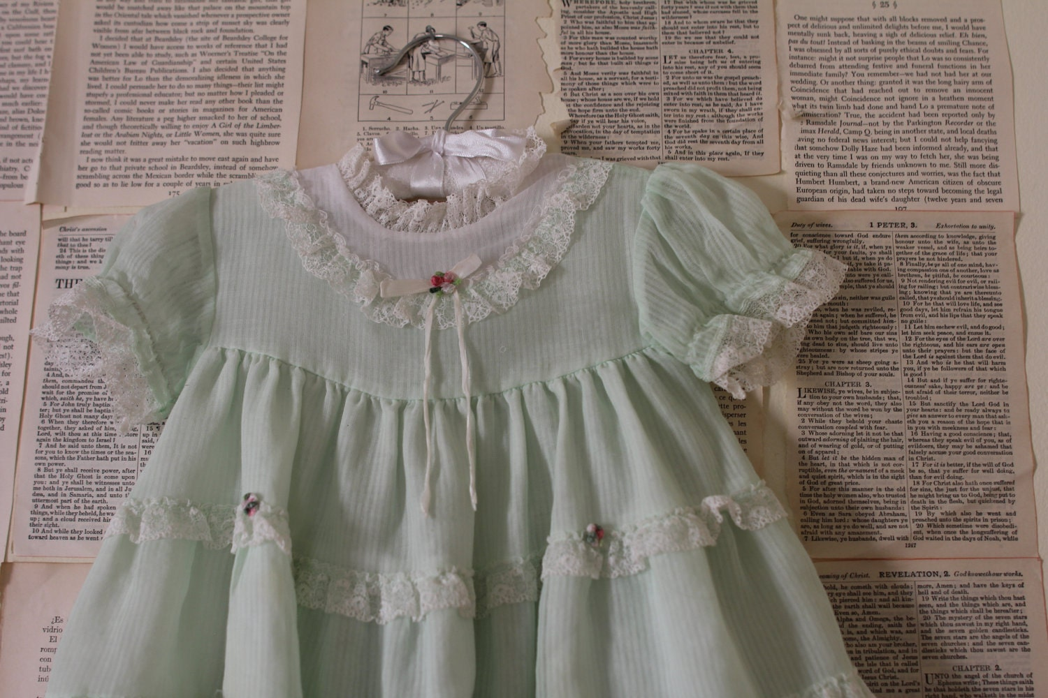 Vintage Mint Green Baby Dress Retro Clothing By Audreyblissful