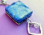 Double your Pleasure Two sided Dichroic Glass and Silver Necklace. OOAK