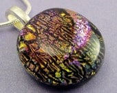 Golden Crackle  Fused Dichroic Necklace