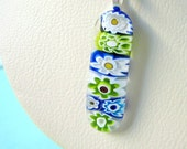 RESERVED    Cascade of Flowing FLOWERS  Fused Glass Pendant