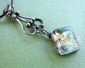 Elegant Golden Nugget    Sterling Silver  Fused Glass Necklace