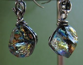 Elegant Golden Nugget    Sterling Silver  Fused Glass Earrings OOAK