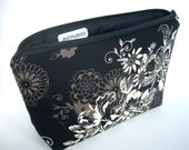 Large Padded Cosmetic Bag Flat Bottom Zipper Pouch Clutch ECO Friendly  Zephyr in Black