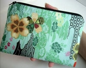 Green Asian Zipper Pouch Large Clutch Bag Pencil Case ECO Friendly Padded Rare Elegant Asian Panels Green Garden SPECIAL Purchase