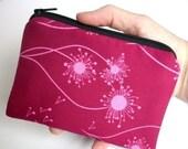 MOVING SALE SALE Little Zipper pouch Coin Purse (Padded) - Raspberry Dandelion