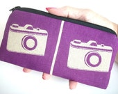 Large Coin purse zipper pouch Echino Japanese Import - Ni-co Camera Purple (Padded) Eco Friendly