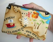 Little Zipper pouch Gadget Case Coin Purse ECO-FRIENDLY (Padded)-Pirate Map