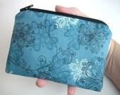 SALE Coin Purse ECO Friendly  Little Zipper pouch Gadget Case - Brookside  Wild Flowers (Padded)