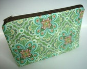 Padded Large Zipper Pouch Cosmetic Pouch Gadget Case Cosmetic Bag ECO Friendly Flora Paisley Leaf